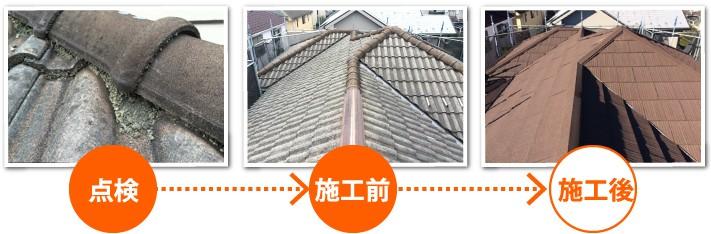 屋根点検、施工前、施工後の写真