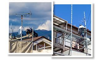 屋根や2階部の高所作業は足場の仮設が必要