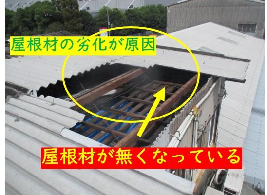 屋根材が飛んで雨漏り発生