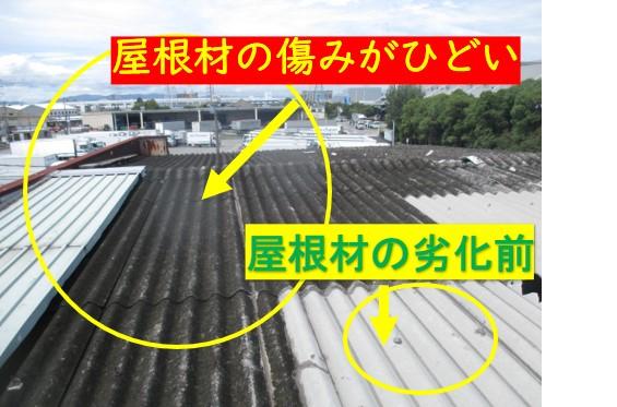 大波スレート屋根材の劣化