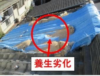 尼崎市瓦屋根落下防止養生