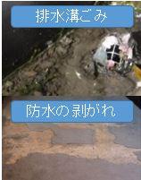 排水口ゴミ.防水のはがれ