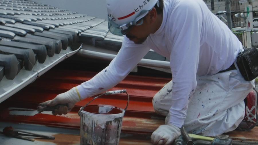 下屋根塗装3