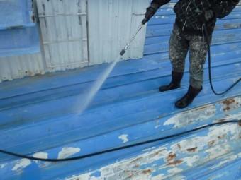 屋根塗装水洗い作業