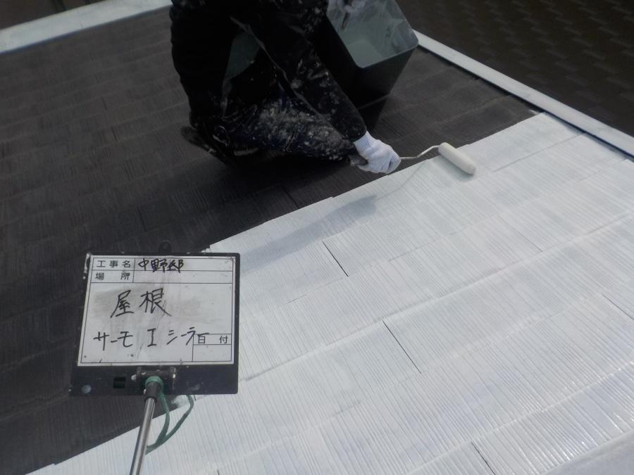 西宮市カラーベスト屋根塗装下塗り