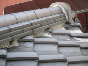 西宮市瓦屋根ズレ、割れ漆喰劣化