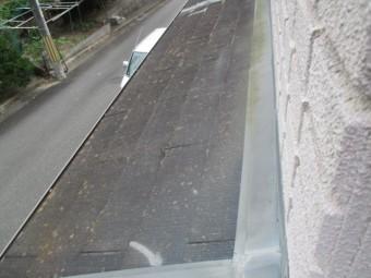 西宮市築20年以上ほったらかしにしていたカラーベスト屋根の状態