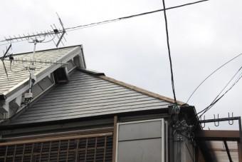 屋根修理足場設置1