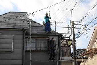 屋根修理足場設置5