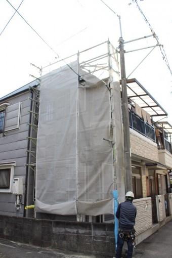 屋根修理足場設置7