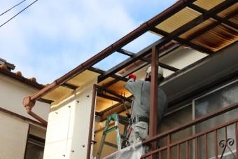 木製テラス波板修理2