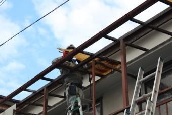 木製テラス波板修理3