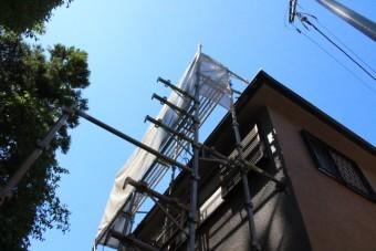 天窓交換工事足場設置1