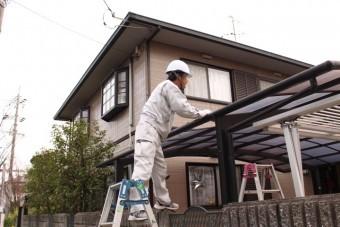カーポート屋根修理中1