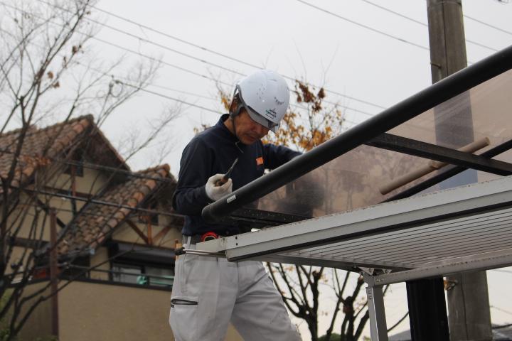 カーポート屋根修理中3