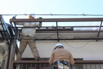 テラス屋根修理中7
