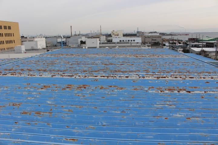 工場屋根塗装施工前1