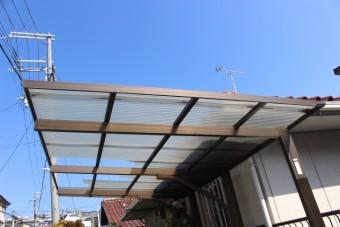 車庫屋根修理現場調査1