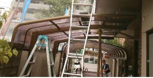 カーポート屋根洗浄風景