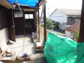 木製テラス屋根破損被害