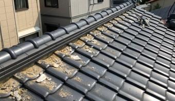 西宮市木造住宅瓦屋根漆喰補修